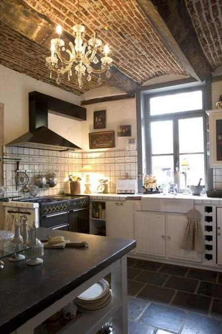 brick ceiling kitchen